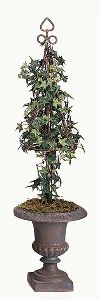 Artificial Topiary Trees, Cone Topiary, 35 inch Pittsburgh Ivy Topiary Rustic Iron Cone